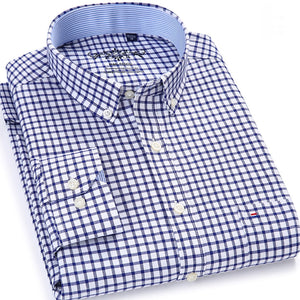 Men's Plaid Checked Oxford Button-down Shirt Chest Pocket Smart Casual Classic Contrast Standard-fit Long Sleeve Dress Shirts-geekbuyig