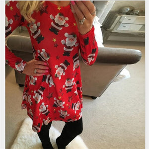 New Arrival 2019 Autumn Fashion Elegant Plus Size Women Clothing Casual Christmas Print Dresses A-Line Dress Vestidos Large Size-geekbuyig
