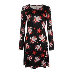 2019 Autumn Winter Christmas Dress Women Plus Size Print Dress Midi Elk Snowflake Long Sleeve A-Line Party Dress female 5XL XXXL-geekbuyig