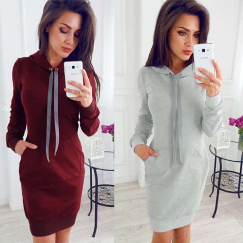 Autumn Sexy Lace-up Bodycon Dress Woman 2018 Long Sleeve Casual Knitting Dress Elegant Sheath Mini Dress-geekbuyig