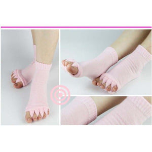 1 Pair Leisure Massage Five Toe Socks Toe Separator Foot Alignment Pain Relief Socks For Woman Man Bunion Gel Guard Pedicure-geekbuyig