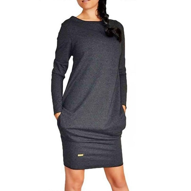 Long-sleeved Slim Bottoming Warm Dress 2019 New Hot Sale Solid Color Round Neck Casual Bag Large Size Dress Plus Size Dress-geekbuyig