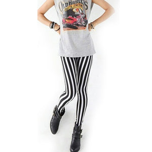 Womens Lady Fashion Cool Sexy Black White Strip Print Leggings Pants Hot High Quality-geekbuyig
