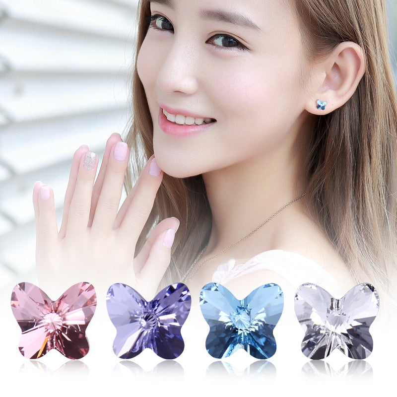 WARME FARBEN Crystal from Swarovski Women Earrings 925 Sterling Sliver Butterfly Crystal Stud Earrings Simple Earrings for Girl-geekbuyig