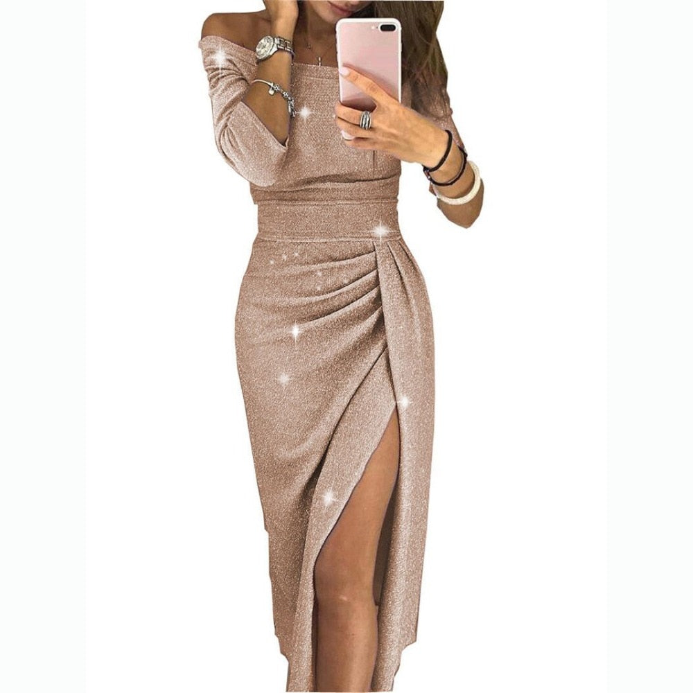2019 Summer Women Dress Slash Neck Package Hip Split Sexy Sequin Dresses Ladies Bandage Party Night Club Mid-Calf Dress-geekbuyig