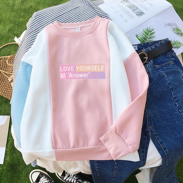 Exo Fans Love Yourself answer Bt21 Kpop Bts Bangtan Boy Got7 K-pop Hoodie Clothing Women Idol Sweatshirt Female Hoodies Femme-geekbuyig