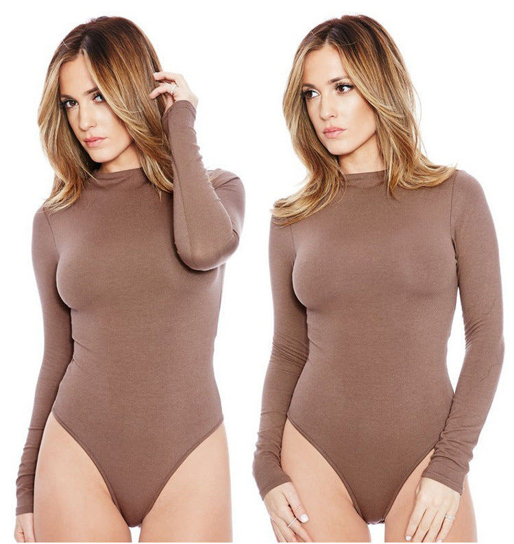 Sexy Slim Solid Warm Winter Women O Neck Bodysuits 2018 New Jumpsuits Long Sleeve Skinny Body Suit-geekbuyig