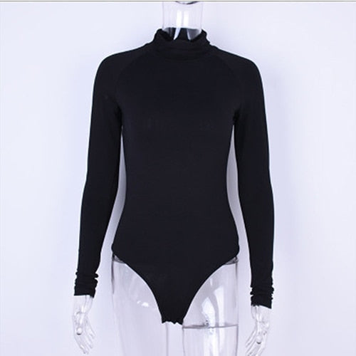 2018 Sexy Turtleneck Bodysuit Women Jumpsuit T-Shirt One Piece Long Sleeve Solid Slim Stretch Playsuit Blouse Leotard Top Women-geekbuyig