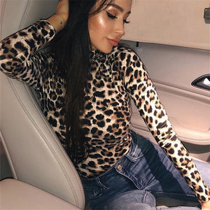 sexy women leopard bodysuit fashion female long sleeve turtleneck slim bodycon bodysuits lady vogue clubwear party new autumn-geekbuyig