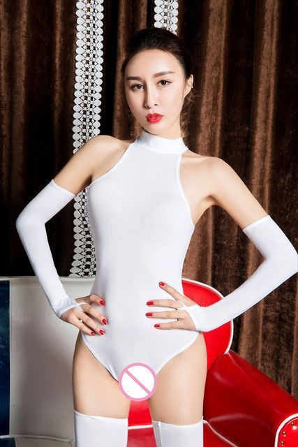 5PCS/Set Sexy Women Night Clubwear Ice Silk Shiny High Cut Bodysuit Turtleneck Bodysuit Jumpsuits Catsuit with Glove-geekbuyig