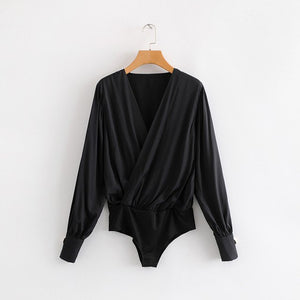 Women sexy cross v neck pleats bodysuits black white color chic shirt casual siamese blouse playsuits femininas blusas LS2926-geekbuyig