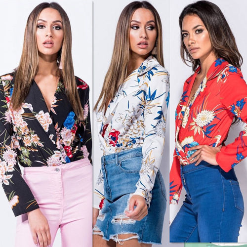 Fashion Women Ladie Floral Print V-Neck Bodycon Satin Bodysuit Tops Jumper Sexy Party Leotard Romper Playsuit Jumpsuit Clothes-geekbuyig