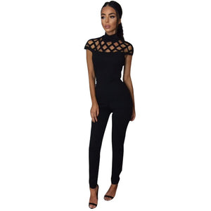 Elegant Jumpsuit Romper Bodycon Cutout Rompers Womens Jumpsuit Fitness Female Turtleneck Short Sleeve Women Clothing LJ7429T-geekbuyig