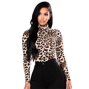Women hot sale Leopard print Bodysuits rompers sexy slim Turtleneck long sleeve autumn set Leopard playsuits top Clubwear 2019-geekbuyig