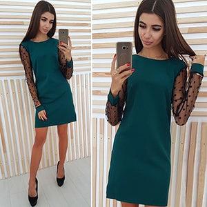 Elegant Ladies Polka Dot Mesh Patchwork Dress 2018 Women Casual Straight O-Neck Long Sleeve Autumn Dress Vestidos-geekbuyig