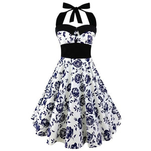Hot Sale Halter Dress Summer Women 2018 Sleeveless Floral Print femme Elegant Vintage Dresses Retro Rockabilly Prom Party Dress-geekbuyig
