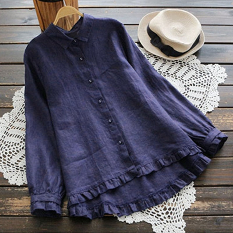 2019 ZANZEA Elegant Women Ruffles Shirt Long Sleeve Solid Buttons Down Blouse Casual Lapel Neck Cotton Linen Top Party Blusas-geekbuyig