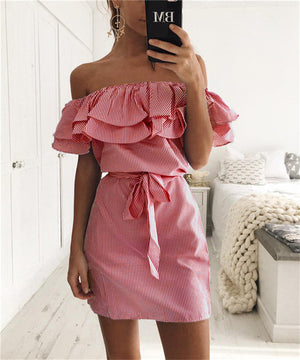 2019 New Summer Dresses Fashion Women Cute Casual Sexy Slash Neck Off Shoulder Ruffles Stripe Cotton Linen Mini Dress Vestidos-geekbuyig