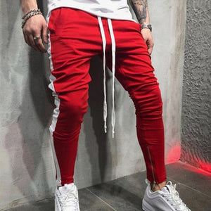 Autumn contrast color mens cotton Sweatpants gyms Fitness workout solid trousers male Casual fashion Pencil Pants Joggers sports-geekbuyig