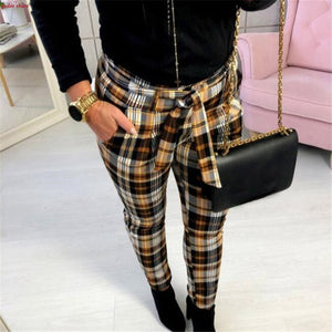 Plaid Print Trouser Women 2018 Autumn Spring Slim Fit Lacing Pants Streetwear All-Match Full Length Pants For Ladies Plus Size-geekbuyig