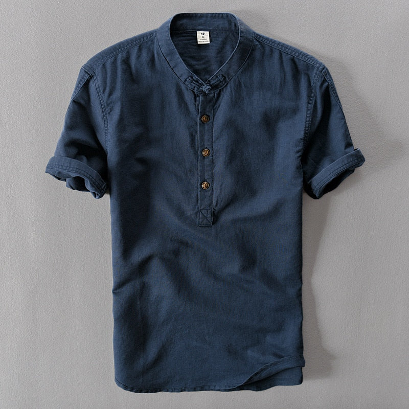 2019 New Summer Brand Shirt Men Short Sleeve Loose Thin Cotton Linen Shirt Male Fashion Solid Color Trend O-Neck Tees-geekbuyig