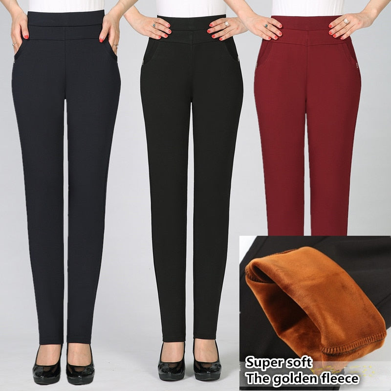 High waist elasticity in 2017 Warm winter pants women Top quality women pants sweat pants women plus size mother's trousers-geekbuyig