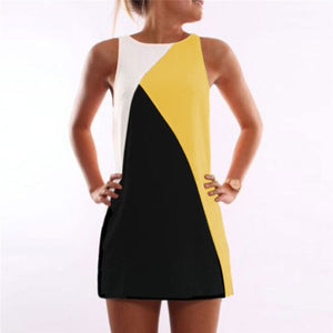 Hot Sale Summer A-Line Dress Women Patchworl Color Stripe&Geometric Dresses Ladies Elegant&Casual Sundress Drop Shipping-geekbuyig