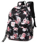 Fashion Water Resistant Nylon Women Backpack Flower Printing Female School Rucksack Girls Daily College Laptop Bagpack-geekbuyig