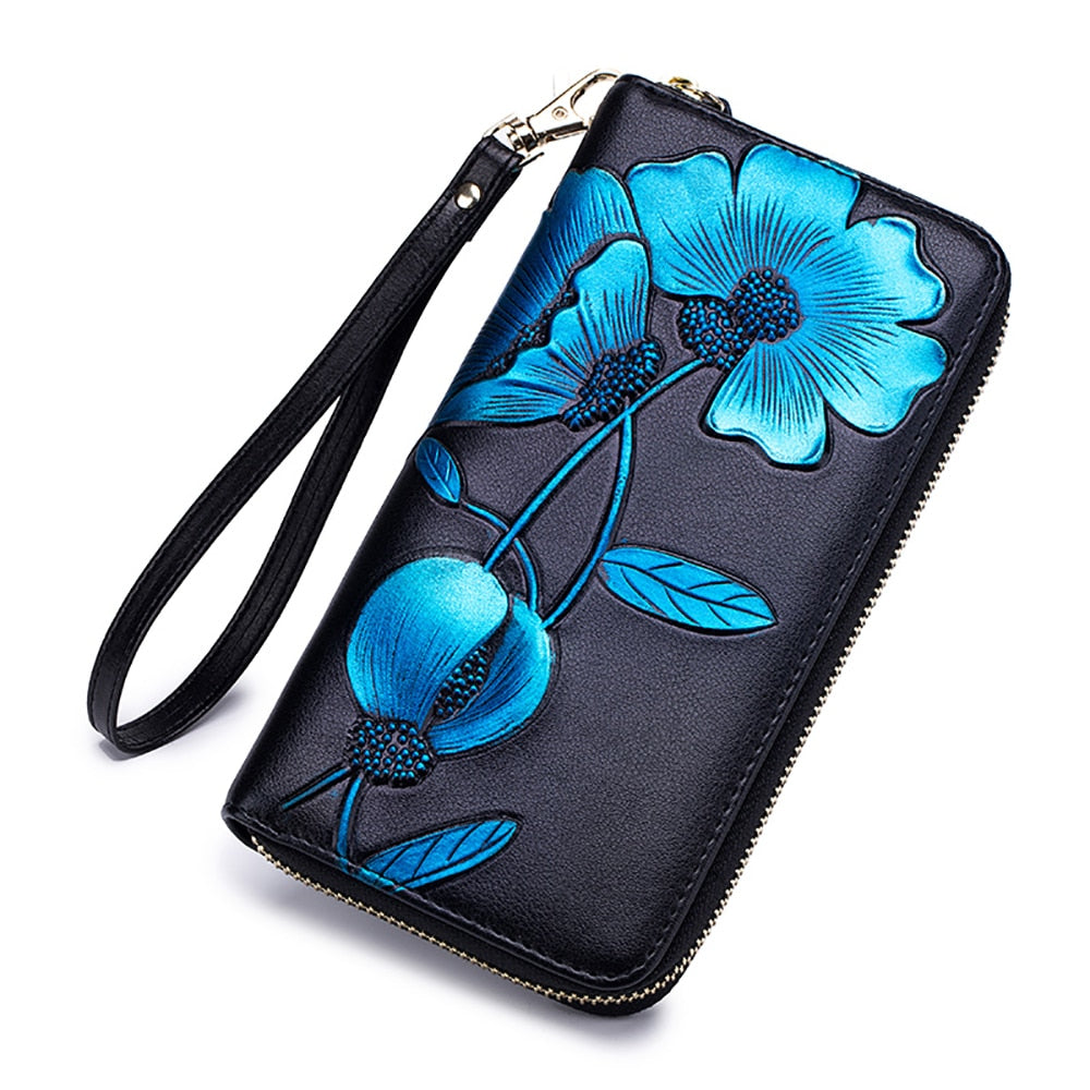 Fashion Flower Genuine Leather Women Card Wallet Female Long Coin Purse Multiple Cards Holder Day Clutch Bags Cell Phone Pocket-geekbuyig