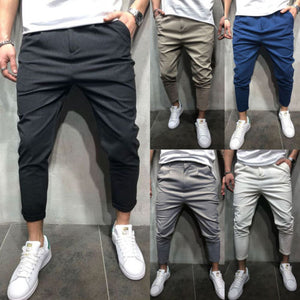 New 5 Color Urban Men Straight Casual Pencil Pants Slim Fit Trousers Outwear Men Solid Pants Trousers Male-geekbuyig