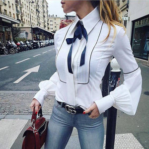 Fashion Casual Women's Ladies Long Sleeve Loose Blouse Shirt Autumn Winter Tops White Lantern Sleeve-geekbuyig