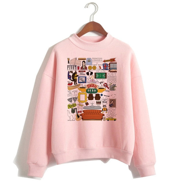 Friends TV Show women hoodie female hooy hoodies Harajuku Oversized Femme 90s girls Sweatshirts Print Long Sleeve clothes-geekbuyig