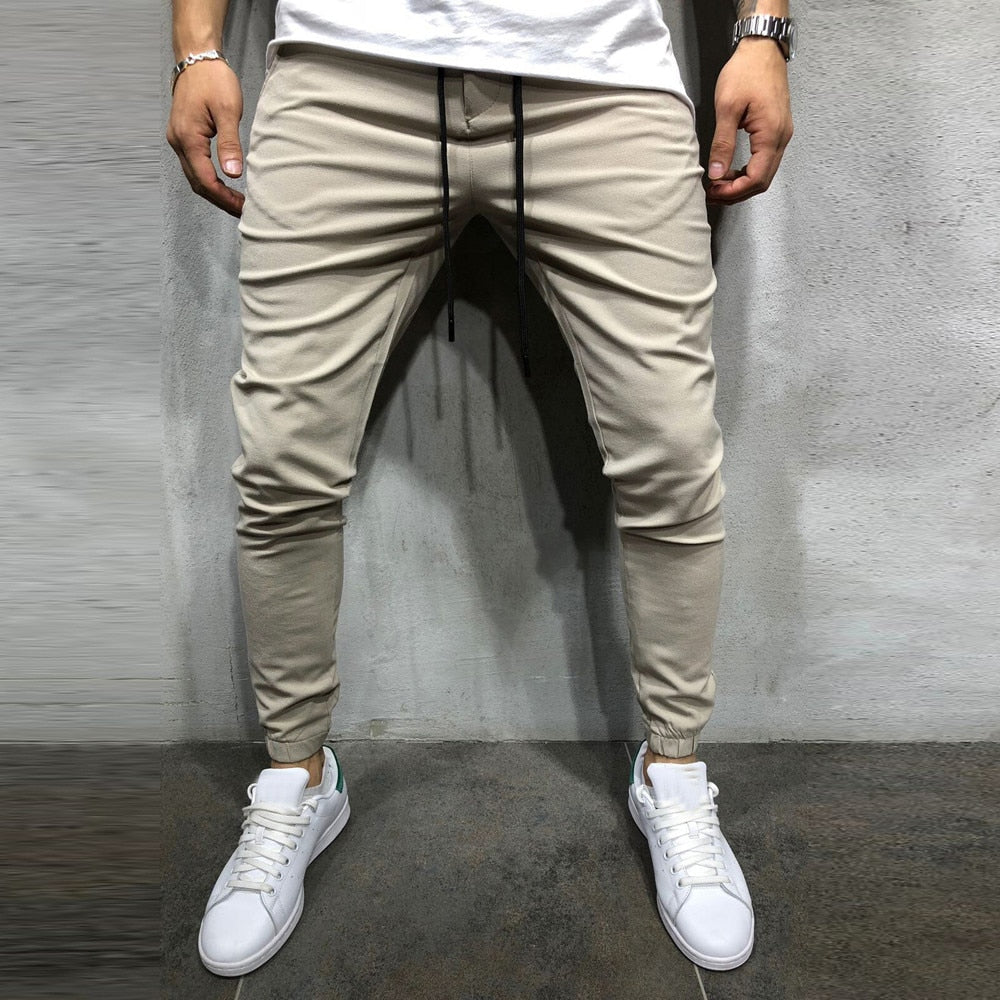 joggers Men Casual Sportwear Baggy Jogger Pants Slacks Ankle-Length Pants Sweatpants Male Trousers Solid Pants Sweatpants-geekbuyig