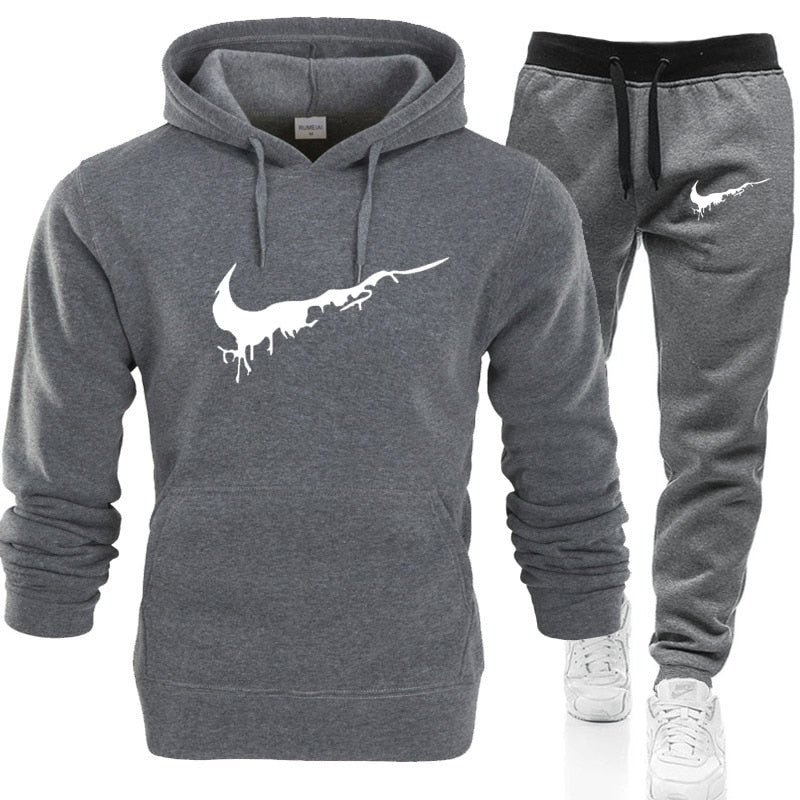 high-quality Hoodies Sweatshirt men's Hoodie Tracksuit Sport Suit Sweatshirts+Sweatpants Suits Fleece Hooded Pullover-geekbuyig