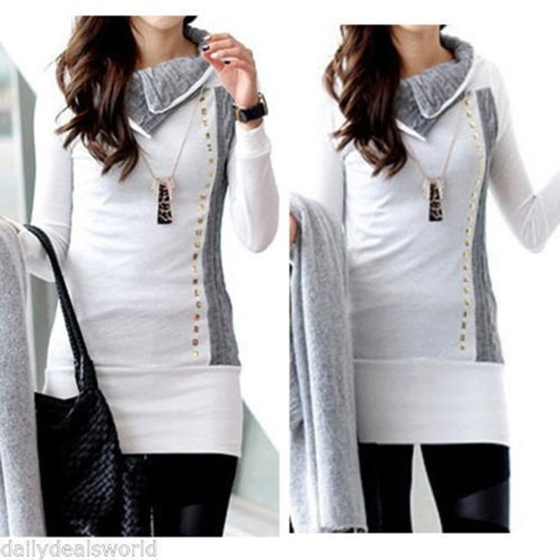 High Quality 2018 Winter New Stylish Women Shirt Turn-Down Collar Ladies Rivet Embellished Long Sleeve Long Hoodies Women Tops-geekbuyig