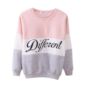Stylish Letter Different Printed Women Fleeve Hoodies Spring Long Sleeve Sweatshirt Patchwork O-neck Pullovers Sudaderas New-geekbuyig