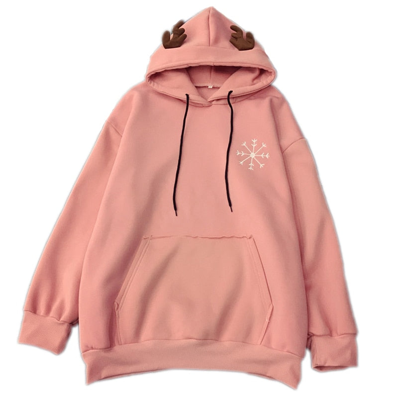 Antlers plus velvet thickening with pockets snowflakes autumn & winter sweet loose pink sets head woman hoodies and sweatshirts-geekbuyig