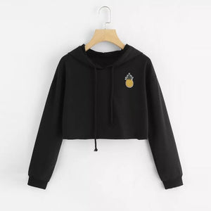 2018 New Women Hoodie Appliques Pinapple Sweatshirt Fashion Long Sleeve Pullover Tops Blouse Loose Short Jumper Sweats Warm 30-geekbuyig