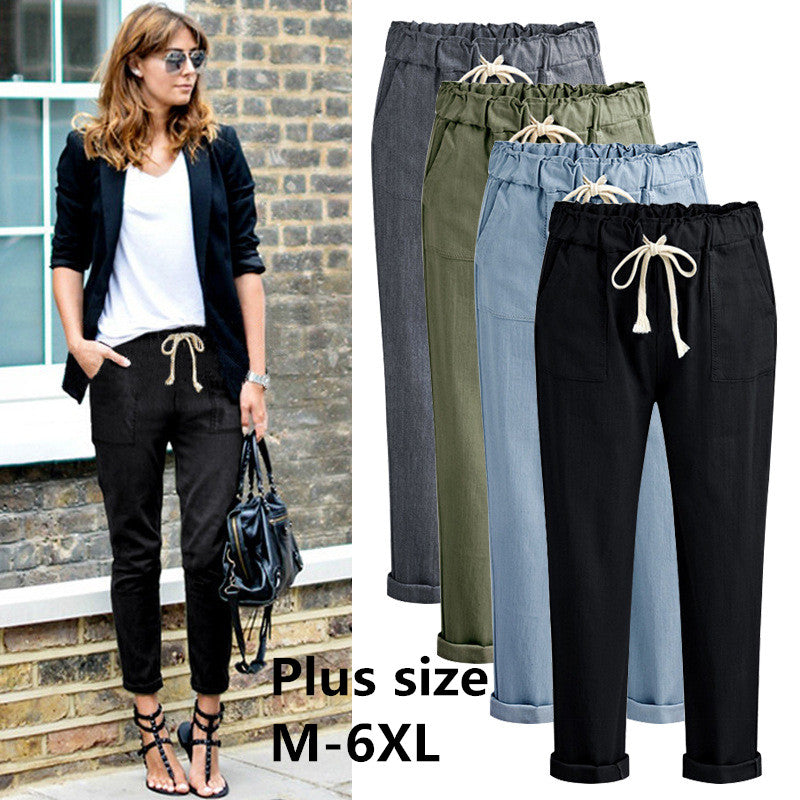 2019 Fashion Harem Pants Women High Waist Loose Cotton Pants Plus Size M-6XL Casual Female Trousers-geekbuyig