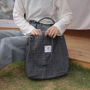 2019 Winter Women Woolen Canvas Shoulder Bag Ladies Vintage Tartan Handbags Female Fashion Plaid Tote Cloth Bags For Preppy Girl-geekbuyig