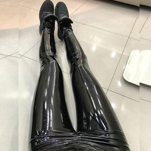 Latex Faux Pu Leather Pants Women Trousers Push Up High Waist Skinny Pants Pencil Autumn Winter Black Sexy Pants Female Bodycon-geekbuyig