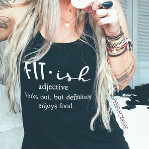 Works Out But Definitely Enjoys Food Tee Sexy Fitish Top Gym Tank Top Women Teenage Running Clothes Sleeveless Vests Drop Ship-geekbuyig