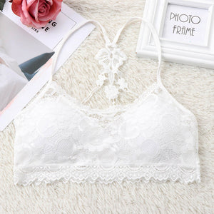 Hot sexy women bra Summer 2018 fashion Sheer Lace floral Bralette Bras Girls Strappy lingerie bra underwear sweet wire free Bra-geekbuyig