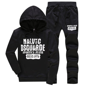 Cotton Men Tracksuit Sportwear Two Piece Sets Hot Autumn Pullover Hoodies + Pants Suit Male Hoodies Set Printing Sweatshirts-geekbuyig