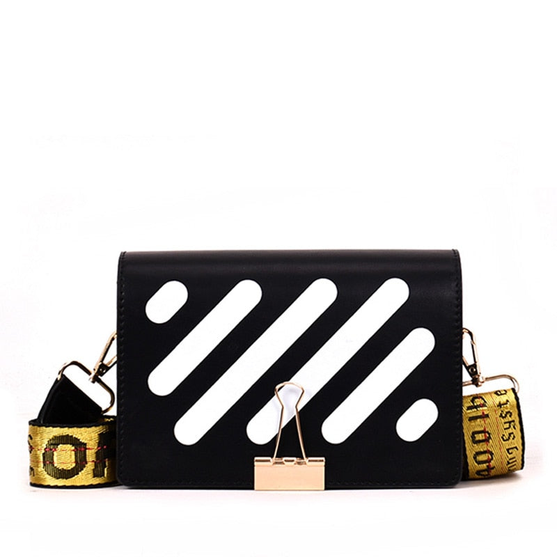 Fansiman 2019 New Pu Stripe Messenger Bags Women Messenger Bags Fashion Shoulder Bags Female Crossbody Flap Design Bags-geekbuyig