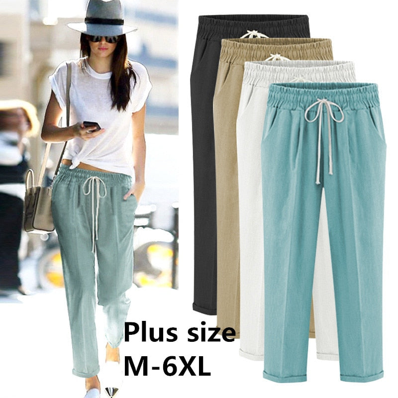2019 Harem Pants Womens High Waist Loose Harem Full Length Pants Female Casual Trousers Plus Size 6XL OL Pants-geekbuyig