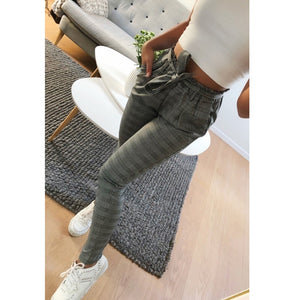 2019 New casual elegant Houndstooth plaid pants pockets retro office lady wear casual fashion with sash trousers mujer-geekbuyig