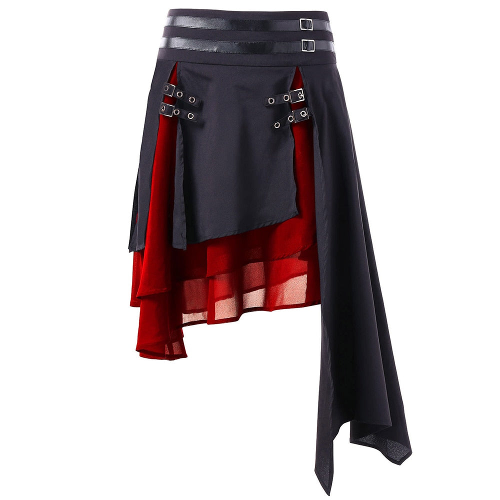 Kenancy Faux Leather Chiffon Women Skirts High Waist Contrast Asymmetrical Female Skirt Folk Layer Buckle Fashion Gothic Skirts-geekbuyig