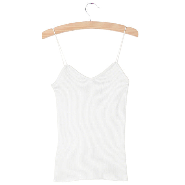 KLV Hot Knit Tank Tops Women Camisole Vest Simple Stretchable V Neck Slim Sexy Straps Tank-geekbuyig