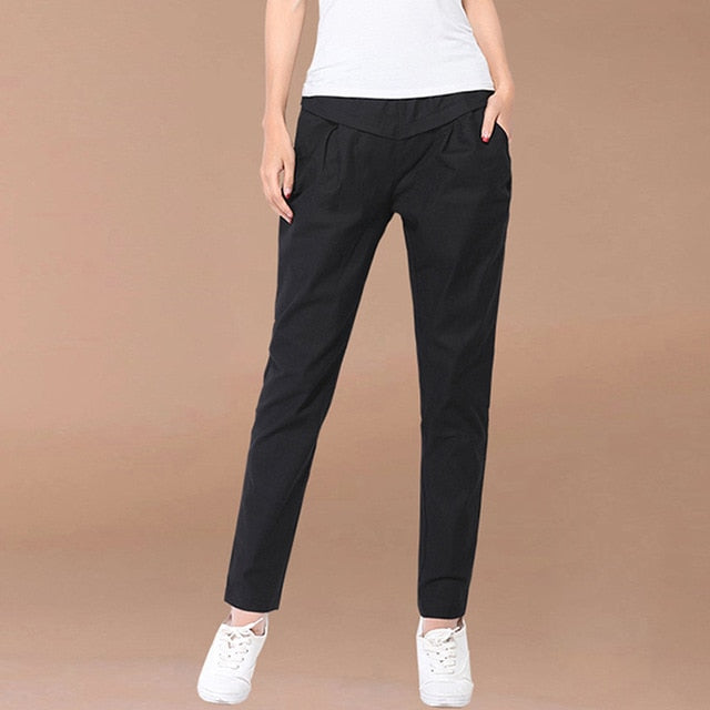 Women Cotton and Linen High Waist Harem Pants 2019 Summer Elastic Waist Pockets Casual Trousers Pantalones-geekbuyig